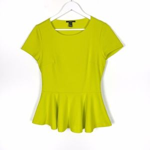 Chartreuse Stretchy Peplum Top Large